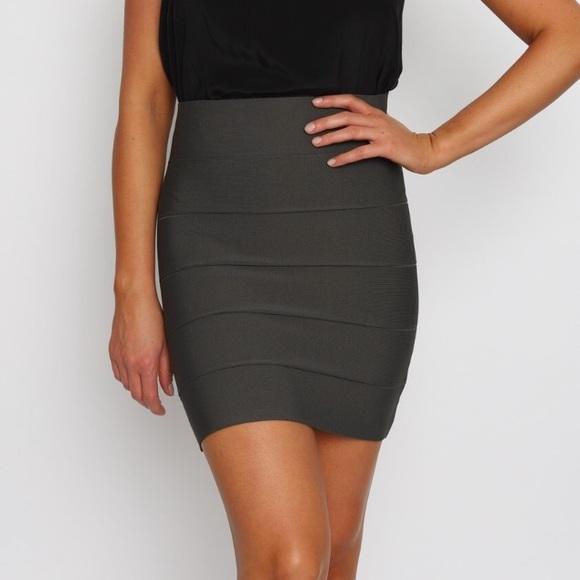 BCBGMaxAzria Dresses & Skirts - BCBG Simone Power Bandage Skirt in Dark Olive